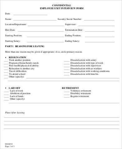 Sample Employee Exit Form - 9+ Examples in Word, PDF