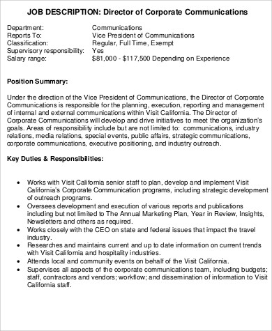 president job description samples