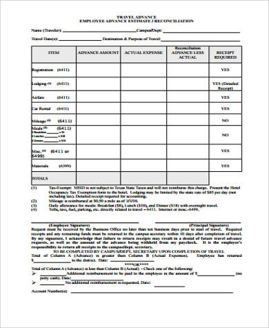 8+ Sample Employee Advance Forms Sample Templates