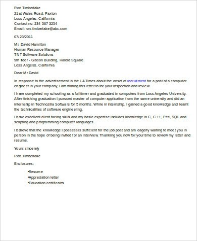 Sample Software Engineer Cover Letter - 8+ Examples in Word, PDF