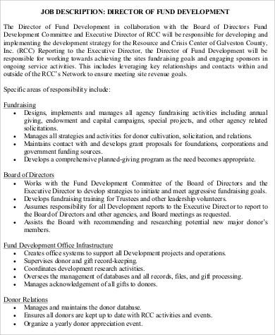 9+ Director of Development Job Description Samples Sample Templates