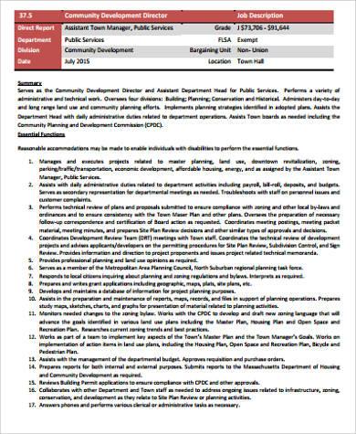 Development Director Job Description Sample   9+ Examples In Word, PDF    Development Director