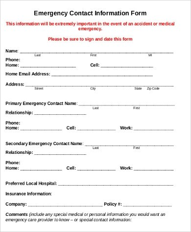 7+ Sample Employee Emergency Contact Forms Sample Templates - contact information form