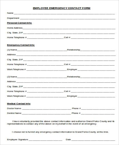 7+ Sample Employee Emergency Contact Forms Sample Templates