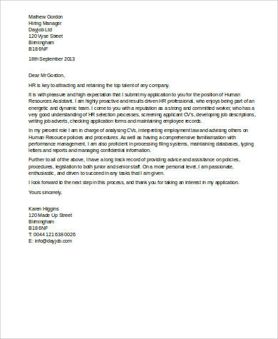 Sample Human Resources Cover Letter - 7+ Examples in Word, PDF - cover letter human resources