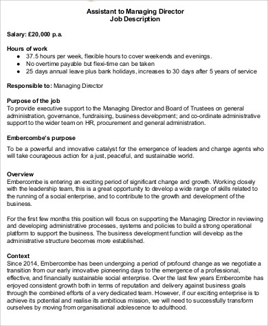 Development Job Description Managing Director Job Description Sample 9  Examples In Word Pdf Director Of