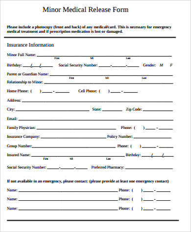 Medical Release Form For Child Sample - 9+ Examples in Word, PDF - medical form in pdf
