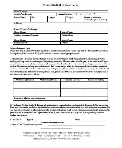 7+ Sample Medical Release Forms for Minor Sample Templates - printable medical release form for children