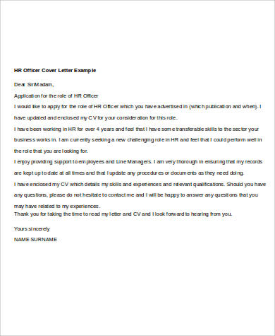 7+ Sample Human Resources Cover Letters Sample Templates