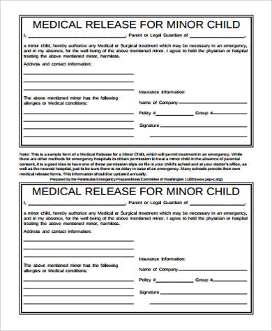 Sample Medical Release Form For Minor - 7+ Examples in Word, PDF