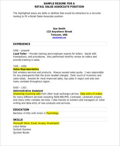 Sample Sales Resume Objective - 6+ Examples in Word, PDF