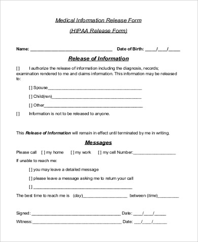 hipaa release form tutornowinfo - medical records release forms