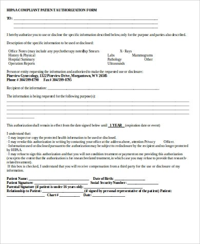 Hippa Release Form Sample - 9+ Examples in Word,PDF - hipaa compliant release form