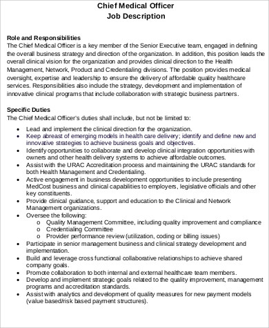 Chief Medical Officer Job Description Sample - 7+ Examples in Word, PDF