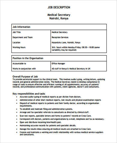 8+ Medical Secretary Job Description Samples Sample Templates