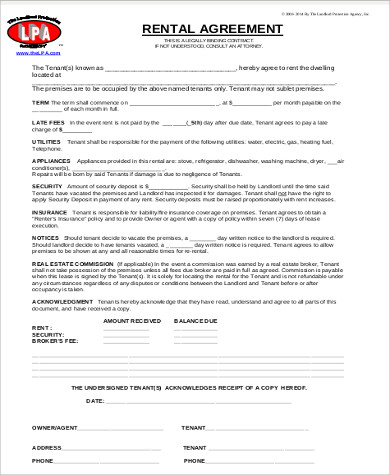 7+ Rental Agreement Format Samples Sample Templates - agreement format