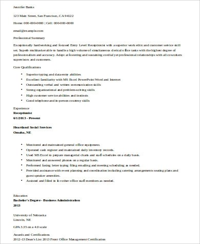 Receptionist Resume Sample - 8+ Examples in Word, PDF - entry level receptionist resume