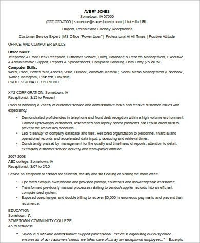 8+ Receptionist Resume Samples Sample Templates - skills for receptionist resume