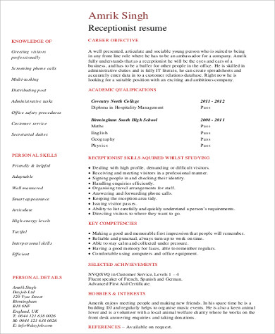 Receptionist Resume Sample - 8+ Examples in Word, PDF - receptionist resume format