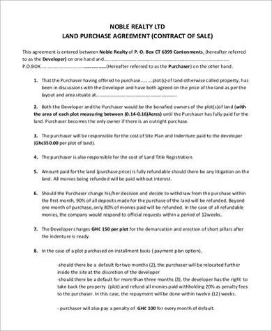 8+ Land Purchase Agreement Samples Sample Templates
