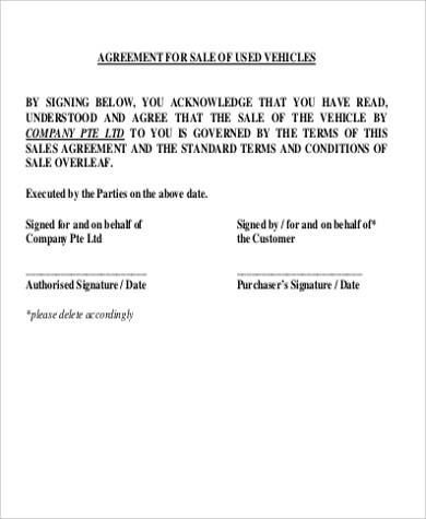 Vehicle Sales Agreement Sample - 8+ Examples in Word, PDF