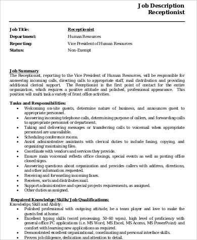 Receptionist Resume Sample - 8+ Examples in Word, PDF