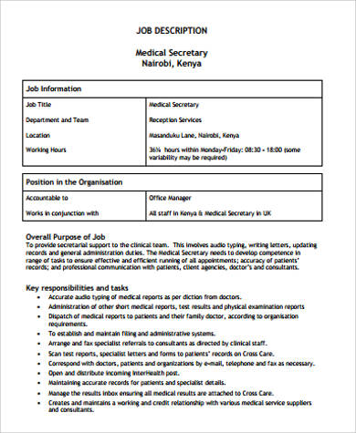 Medical Job Description Sample - 9+ Examples in Word, PDF - medical secretary job description