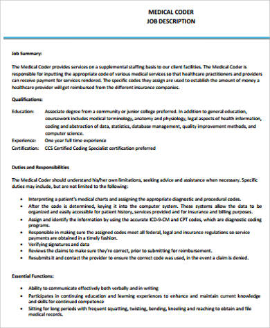 Medical Coding Job Description  Resume Template Sample