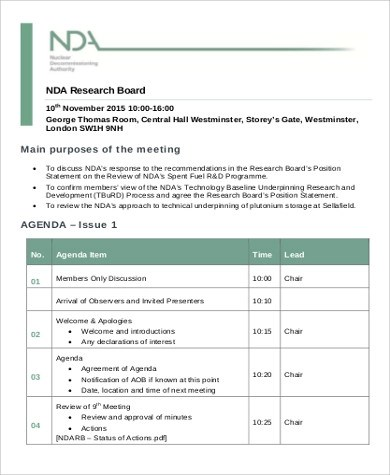 Exceptional ... 7+ Research Agenda Example   Free Sample, Example, Format Download   Research  Agenda ...