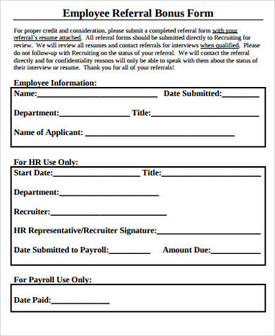 Employee Referral Form  Cv For A Finance Internship