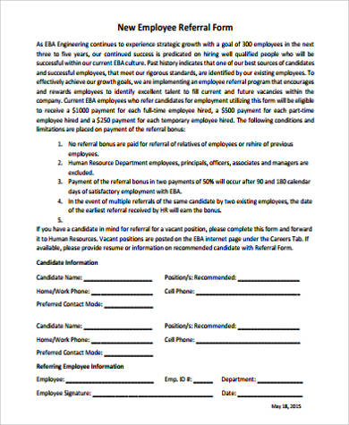 Sample Referral Form kicksneakers - employee referral form