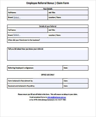 referral bonus form - Ozilalmanoof - employee referral form