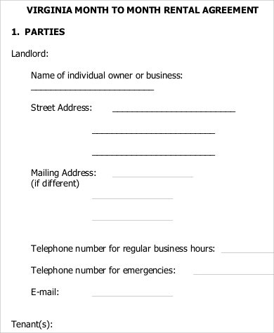 7+ Sample Month to Month Rental Agreement Form Sample Templates