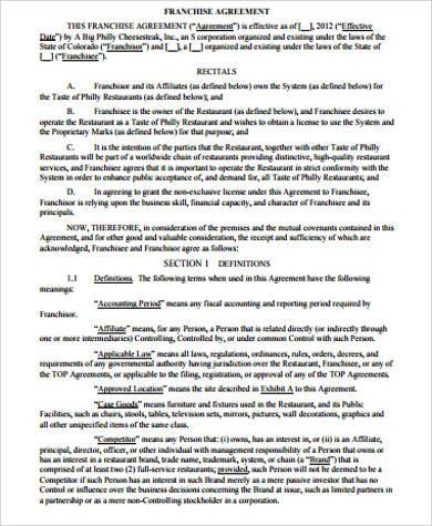 15+ Sample Franchise Agreements - Free Word, PDF Format Download
