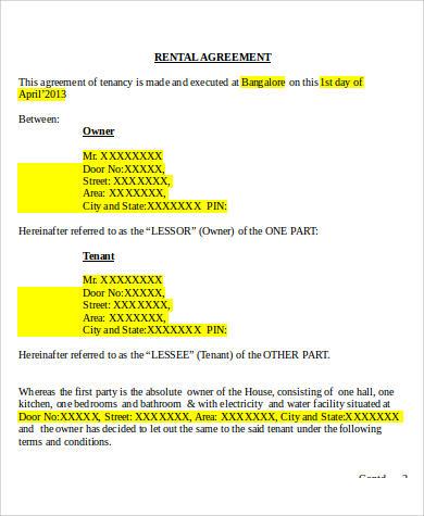 8+ Generic Rental Agreement Sample - Free Sample, Example, Format - sample generic rental agreement