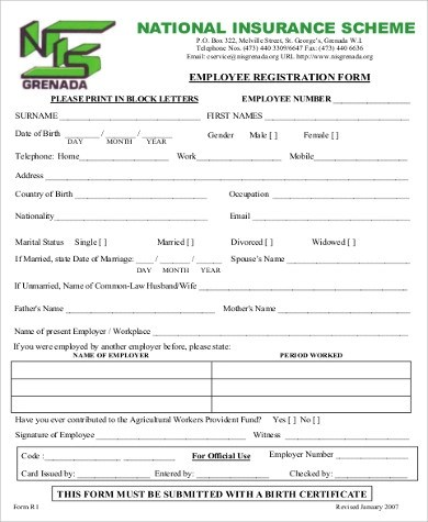Sample Employee Registration Form - 8+ Examples in Word, PDF