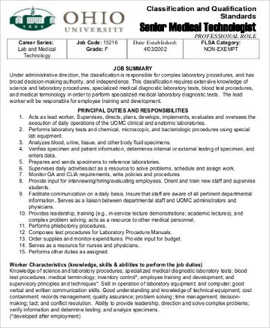 6+ Medical Technologist Job Description Samples Sample Templates
