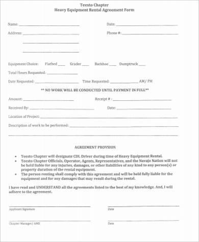 7+ Equipment Rental Agreement Sample - Free Sample, Example - agreement form sample