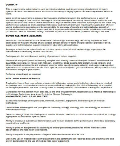 Medical Technologist Job Description Sample - 6+ Examples in Word, PDF