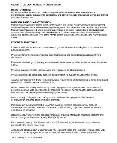 8+ Mental Health Counselor Job Description Samples Sample Templates - mental health counselor job description