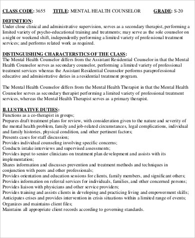 8+ Mental Health Counselor Job Description Samples Sample Templates