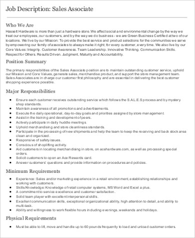 7+ Store Associate Job Description Samples Sample Templates
