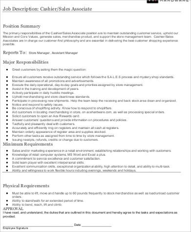 7+ Store Associate Job Description Samples Sample Templates - store associate job description