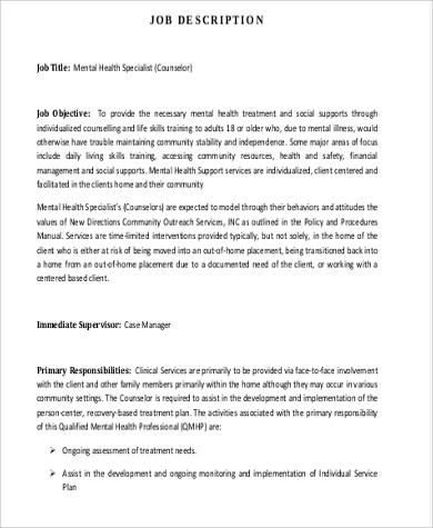 mental health specialist sample resume professional behavioral