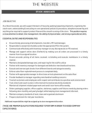 Store Associate Job Description Sample - 7+ Examples in Word, PDF