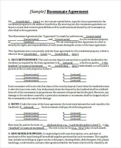 Roommate Lease Agreement Sample - 6+ Examples in Word, PDF - roommate agreement form