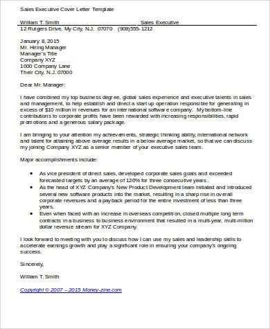 Sample Executive Cover Letters - 10+ Examples in Word, PDF