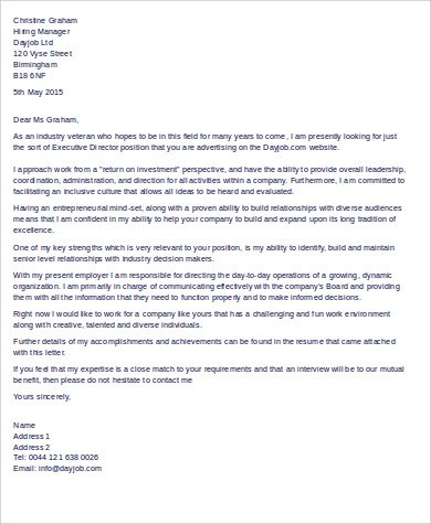 10+ Sample Executive Cover Letters Sample Templates - executive director cover letter
