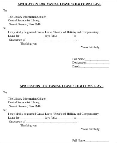 7+ Sample Leave Applications Sample Templates - Casual Leave Application