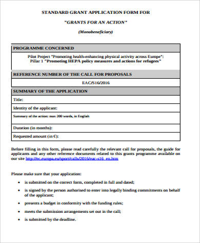 7+ Grant Applications Examples  Templates Sample Templates - sample grant applications